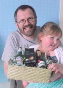 Competition winner's Dad enjoying his beer hamper