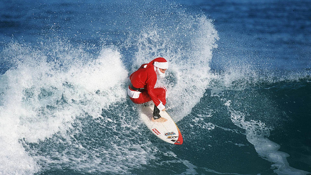 Surfing Santa waves-1920-1080-wallpaper by  ビッグアップジャパン from Flickr