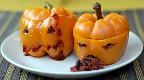 Kathy Hester's jack-o-lantern peppers from Healthy Slow Cooking