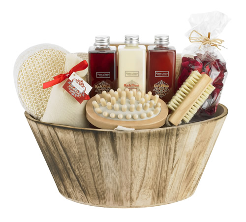 Rich Plum Oval Bowl Bath and Beauty Hamper HampergiftsUK