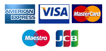 We accept Visa, MasterCard, American Express, JCB and Maestro
