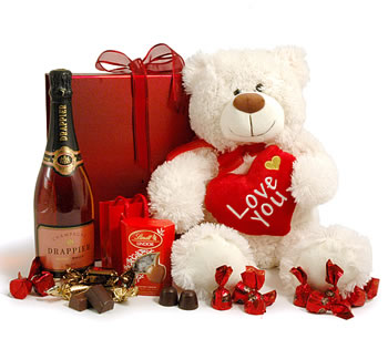 Valentines Hampers | Valentines Gift Basket - Giant Teddy & Rosé Champagne