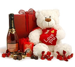 Chocolate Hampers & Gifts - Hampergifts.co.uk - Giant Teddy & Rosé Champagne