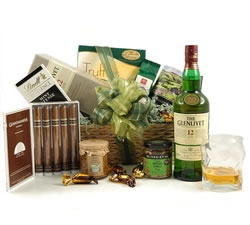 Luxury Hampers - Hampers & Gift Baskets from Hampergifts.co.uk - Glenlivet 12 Yr Old & Cuban Cigars