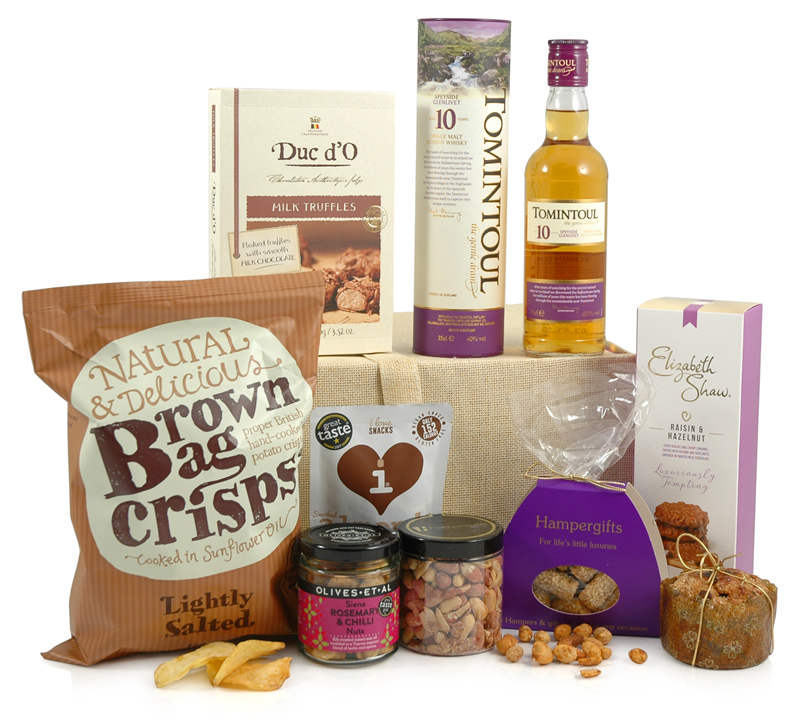 Scotch Whisky Hamper | Tomintoul 10 and Sweet & Savoury Treats