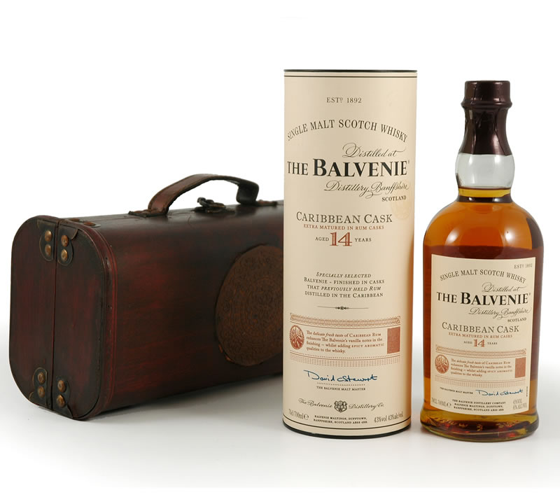 Balvenie 14 Caribbean Cask Scotch in Wooden Box