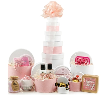 Valentines Hampers | Valentines Gift Basket - Bathtime Gift Tower