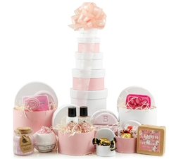 Gifts For Her: Hampers & Gift Baskets from Hampergifts.co.uk - Bathtime Gift Tower