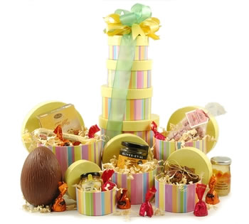 Easter hampers easter gift baskets gifts for easter striped easter food tower negle Images