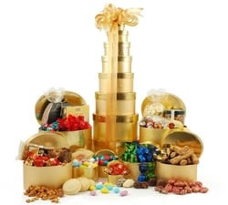 Gift Towers - Hampers & Gift Baskets from Hampergifts.co.uk - Deluxe Golden Tower