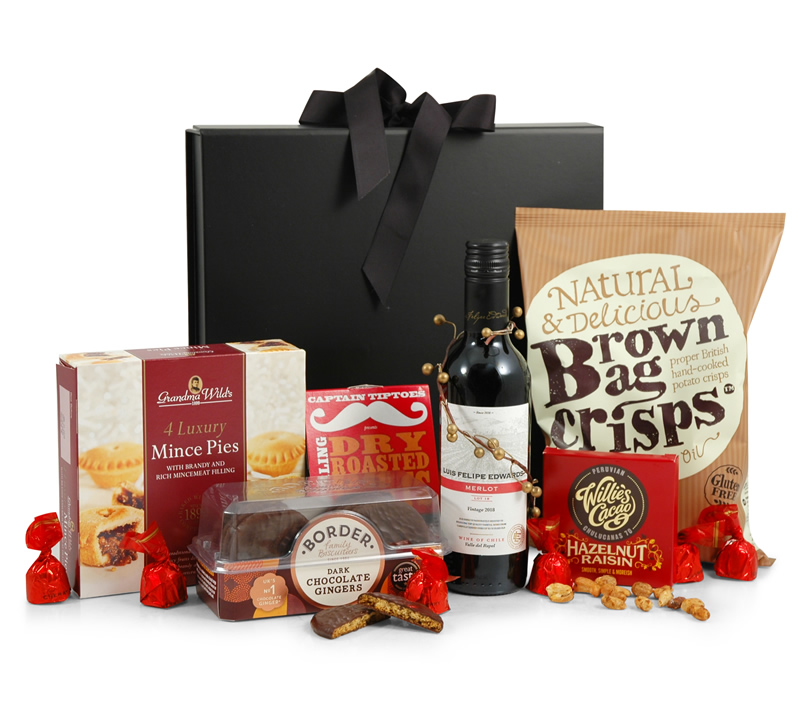 Merry Christmas Gift Box with Red Wine