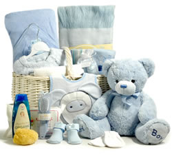 Luxury Baby Hamper (Boy) with 30cm Keel Toys Soft Teddy