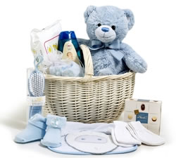 New Baby Basket (Boy) + Keel Toys 20cm Teddy