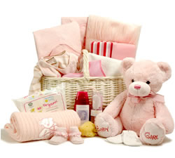 Luxury Baby Hamper (Girl) with 30cm Keel Toys Soft Teddy
