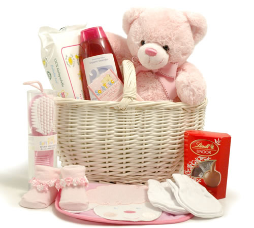New Baby Basket (Girl) + Keel Toys 20cm Teddy
