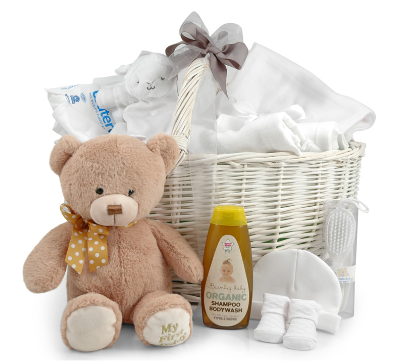 Newborn Welcome Basket with 25cm My First Teddy