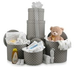 Deluxe Welcome Tower | New Baby 3-Tier Hatbox Gift Tower