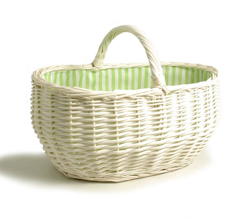 19 inch - Large White Wicker Basket