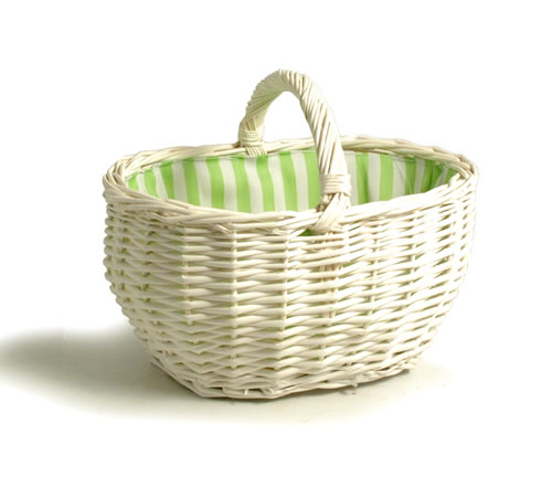 10 inch - Small White Wicker Basket
