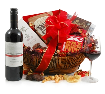 Valentines Hampers | Valentines Gift Basket - Ruby Red Wine Hamper