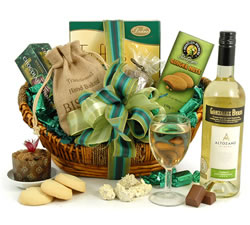 Vegetarian Hampers: Hampers & Gift Baskets from Hampergifts.co.uk - The Emerald White Wine Hamper